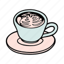 cafe, cafeteria, coffee, cup, doodle, latte, mug icon