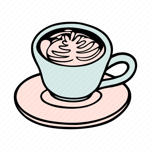 cafe, cafeteria, coffee, cup, doodle, latte, mug icon