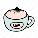 cafe, cappuccino, coffee, cream, cup, doodle, mug icon