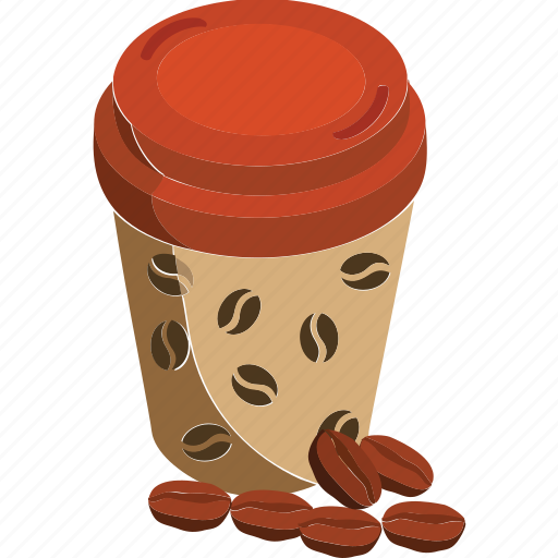 coffee, coffee beans, coffee beans with cup, coffee cup, coffee glass icon