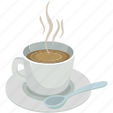 coffee cup, coffee cup with spoon, hot coffee, hot coffee with spoon, hot tea, soup, spoon icon
