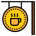coffee, coffee shop, drink, shop, sign icon