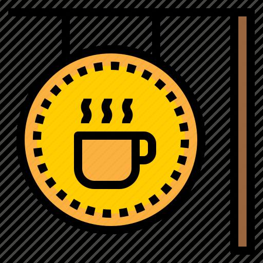 coffee, coffee shop, drink, shop, sign icon