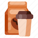 beverage, cafe, coffe, coffee shop, cup, food, paper bag icon