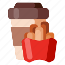 beverage, cafe, coffee, coffee shop, food, french, fries icon