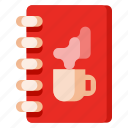 beverage, book, cafe, coffee shop, food, menu icon
