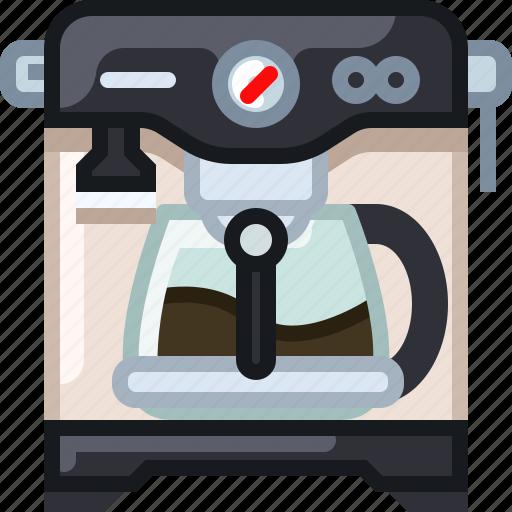 cafe, coffee, coffeemaker, drink, percolator, shop, yumminky icon