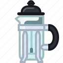 coffee, coffeemaker, french press, making, percolator, shop, yumminky icon