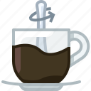 caffeine, coffee, cup, drink, glass, mixing icon
