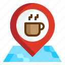 coffee, location, map, navigation, pin, place, travel icon