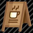 board, cafe, coffee, menu, shop, signaling, stand icon