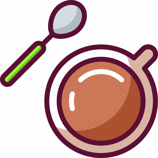 coffee, colored, cup, spoon, topview icon