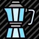 coffee, moka, pot, shop icon