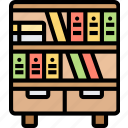bookshelf, library, literature, reading, textbook