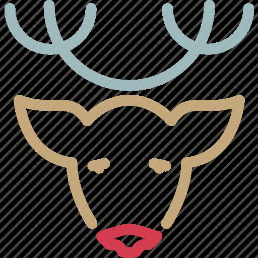 animal, christmas, deer, head, reindeer, rudolph, xmas icon