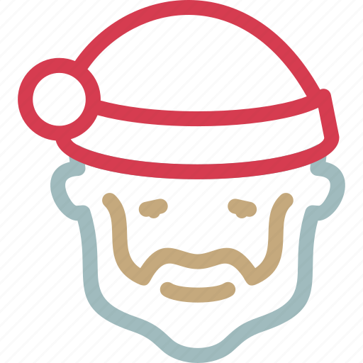 beard, christmas, claus, face, gifts, head, santa icon