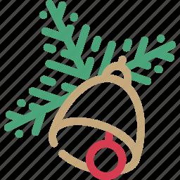 bell, celebration, christmas, decoration, gift, tree, twig icon