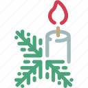 candle, celebration, christmas, decoration, holiday, tree, twig icon