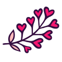 blossom, branch, floral, florist, flowering, heart, nature icon
