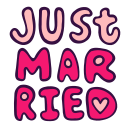 just, letters, love, married, romantic, wedding, words icon
