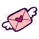 letter, love, mail, message, post, valentine, wings icon