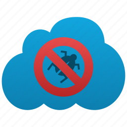 antispam, antivirus, bug, caution, cautious, cloud, safety, secure, shield icon