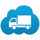 cloud, delivery, lorry, machine, shipment, traffic, transport, transportation, truck icon