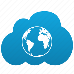 browser, cloud, earth, global, globe, internet, network, planet, total, world icon