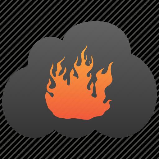 burn, cloud, destruction, fire, flame, hell, hot icon