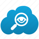 cloud, search, explore, find, magnifying glass, exploration, investigate, research, look into, view