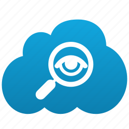 cloud, exploration, explore, find, investigate, look into, magnifying glass, research, search, view icon