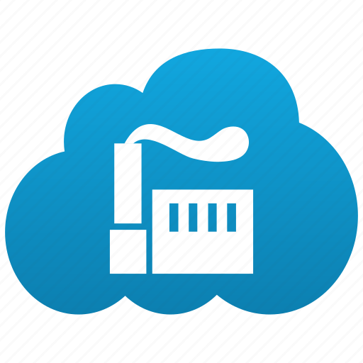 cloud, factory, generation, plant, produce, production icon