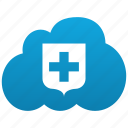 cloud, insurance, locked, private, protect, protection, secure, security, shield, storage icon