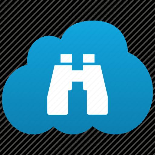 binoculars, cloud, explore, explorer, find, locate, navigate, navigator, search, zoom icon