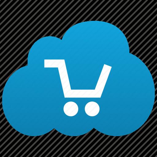 basket, buy, cart, cloud, ecommerce, shopping icon