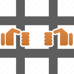 arrest, crime, guard, hands, jail, justice, locked, prison, private, protection icon