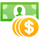 banknote, cash, coins, currency, dollar, money, payment icon