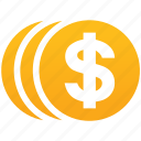 cash, dollar, donation, finance, gold coins, income, money icon