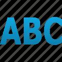abc, alphabet, character, font, language, letter, text icon