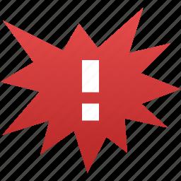 alarm, alert, attention, caution, danger, exclamation, problem icon