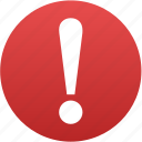 alarm, alert, attention, caution, error, exclamation, problem icon