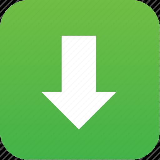 Arrow, down, down button, download, downloads, guardar, load, save ...