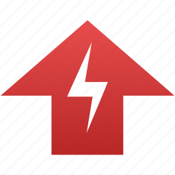 arrow, flash, red, top, up, upload icon