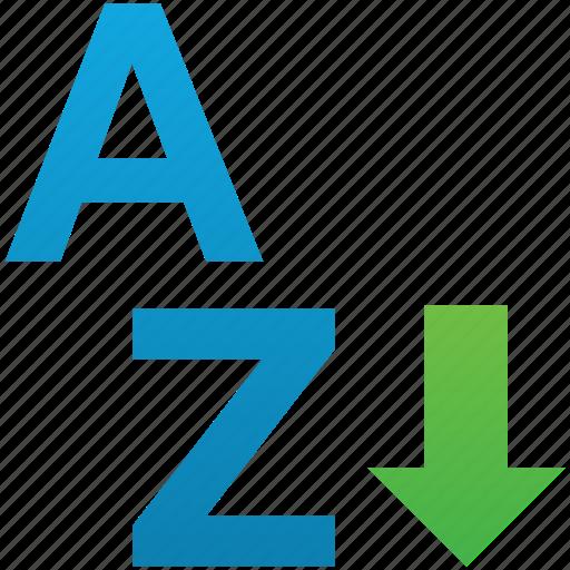 arrow, ascend, ascending, sort, sort a-z, sorting, sorting a-z icon