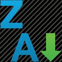 ascending, backward, descending, sort, sort accsending, sort z-a, sorting z-a icon
