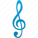 audio, key, music, note, sound, treble clef icon
