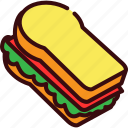 bread, breakfast, fast, fast food, food, sandwich icon