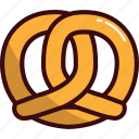 breakfast, fast, food, fried, pastry, pretzel, snack icon