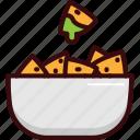 fast, food, guacamole, mexican, nachos, snack icon