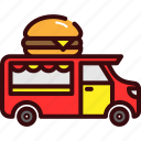 burger, fast, food, hamburger, street food, truck, van icon